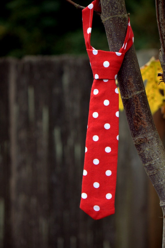 Neck Tie for Baby/Toddler Boy red and White Polka Dot Adjustable Velcro Necktie