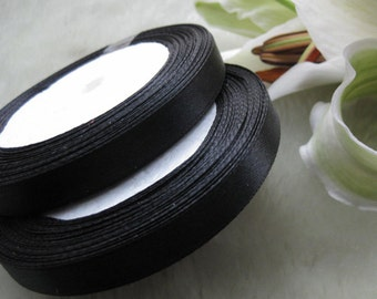 10mm satin ribbon craft/party Gift wrap Black 50y R300