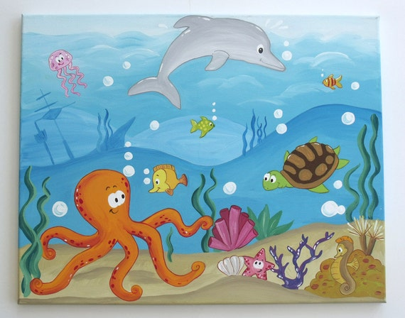 Items Similar To Under The Sea Underwater Painting On