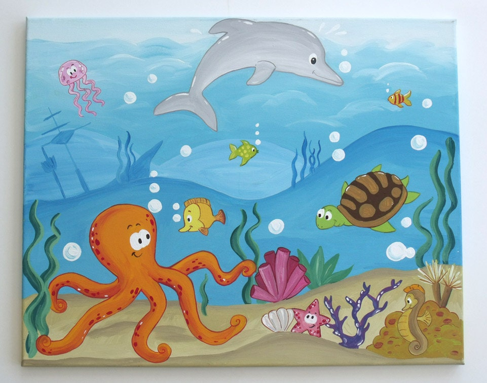 Under the Sea Underwater Painting on Canvas by Leilasartcorner