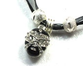 Black Carnival Mask Charm Necklace Pendant  Black Ribbon Necklace Black Carnival Mask Charm Silver bead Black Mask Ribbon Necklace