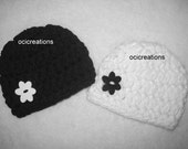 Crochet Twin Girl Baby Hats Photo Props In Black And White Ready To Ship Newborn/0-3 Months