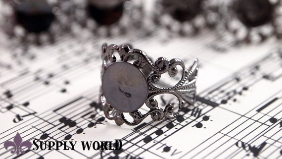 Gunmetal Ring Base - Gunmetal Filigree Ring Base 5 pcs - Adjustable Gunmetal Ring