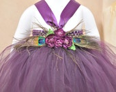 Plum Peacock tutu dress. Plum crocheted top with eggplant/plum  tulle, peacock feather and flower embellishments.