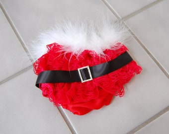 Santa Baby Lace Ruffled Bloomers only