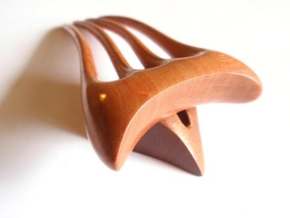 Wooden hair fork, 4 prong, Hair sticks, Wood, Plum tree, Hairpin, Handmade