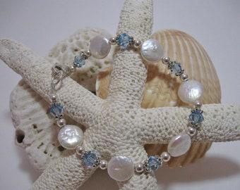 Light Blue Crystal & Coin Pearl Bracelet
