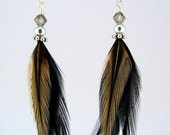 Rooster Feather Earrings with metal beads, Swarovski crystals, and sterling silver