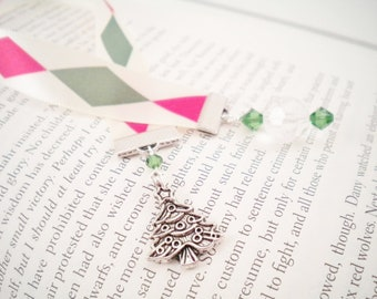 Christmas Tree Red, Green, and Ivory Ribbon Bookmark, Stocking Stuffer, Holiday Gift Under 10