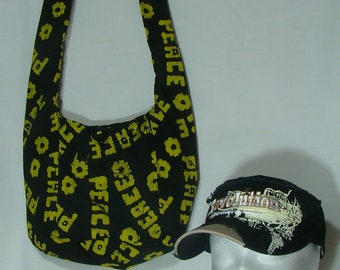 Hobo Shoulder Bag with FREE Cap (Black and Yellow) P200