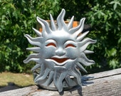 Glass filled Votive Metal Sun Candle Holder