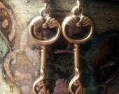 Antiqued bronze key earrings with cats