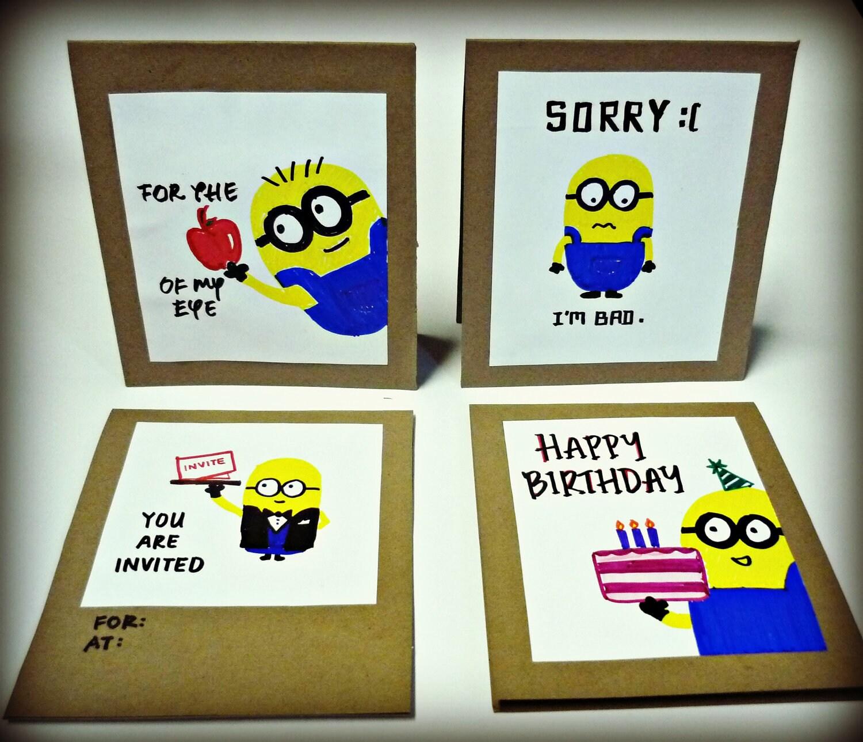 Despicable me birthday card gangcraft despicable me minion card birthday card invitation by craftygru birthday card bookmarktalkfo Gallery