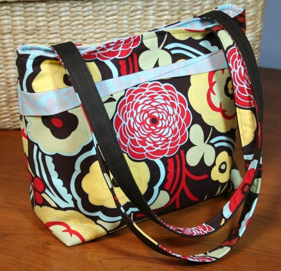 "The ""Ellen"" Everyday Purse -- Casual Shoulder Bag -- Chocolate Brown, Alexander Henry floral print"