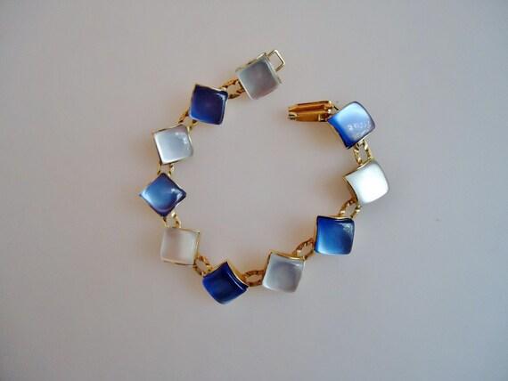 25% OFF - SOMETHING BLUE & White-Thermoset/Moonglow Diamond Shaped Links-Vintage 60's Bracelet