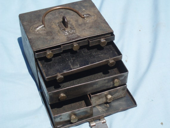 Hand Made Steel Box With Seven Drawers