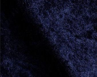 Stretch Panne Velvet Dark Navy 60 Inch Fabric by the Yard