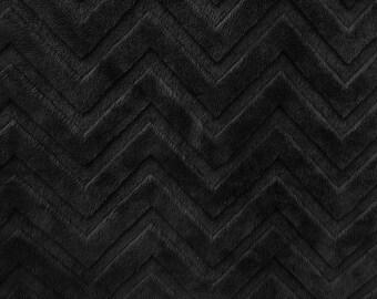 Minky Snuggle Embossed Chevron Zig Zag Black 58 Inch Fabric by the Yard, 1 yard.