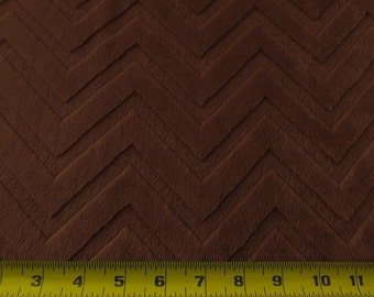 Minky cuddle Embossed Chevron Zig Zag Brown 58 Inch Fabric by the Yard, 1 yard.