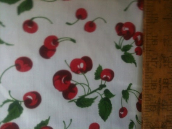 "Poly Cotton Print Red Cherries all over on White Background 60"" Fabric by the Yard - 1 Yard"