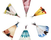Teepee Watercolor Art, Teepee Spiral, Archival Print