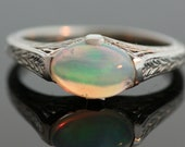 Antique Opal Ring - 18K White Gold