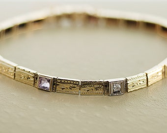 Antique Bracelet - Antique 14k Yellow Gold Etched Amethyst and Diamond Bracelet