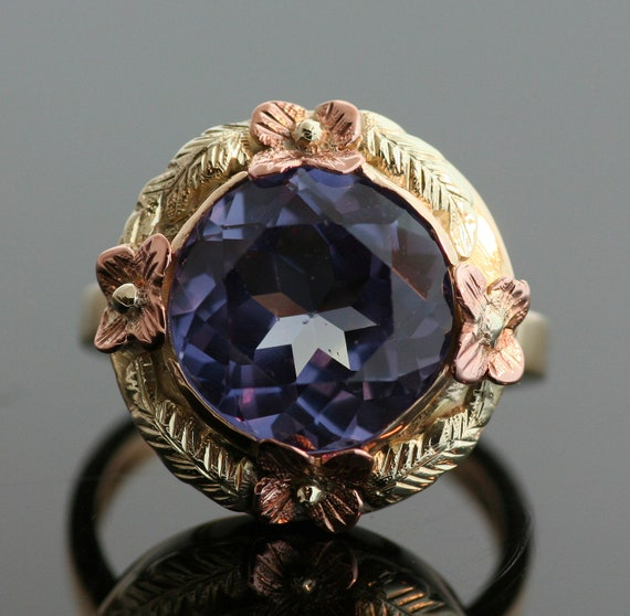 antique synthetic alexandrite ring by sitfinejewelry on etsy