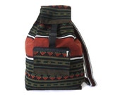 Tribal Fabric Backpack, Latin American, Peru, Dark Green, Orange Stripes