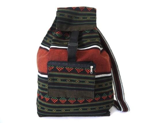 Tribal Fabric Backpack, Latin American, Peru, Dark Green, Orange Stripes