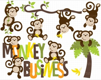 Clipart - Monkey Business - Digital Clip Art (Instant Download)