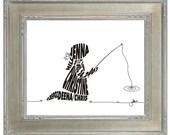 Girl Fishing with Bow - Custom Personalized Newborn Print UNFRAMED