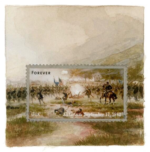 Original Framed Art: Battle of Antietam, Postage Stamp Painting