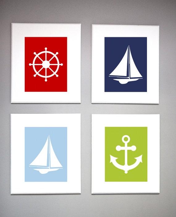 Etsy Coastal Wall Decor : Items similar to nautical nursery wall art modern sailboat