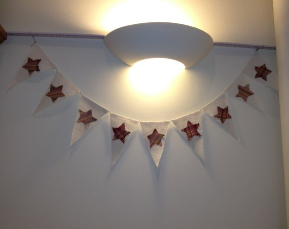 Vintage Linen Garland, Homemade with stars