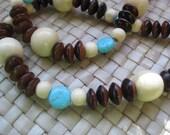 Wood Beaded Necklace, Women, Dudes, Unisex, Boho Inspired