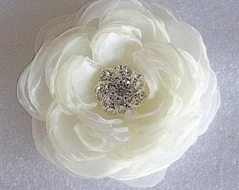 Ivory wedding hair flower/bridal hair flower -wedding hair accessories - organza bridal hair clip