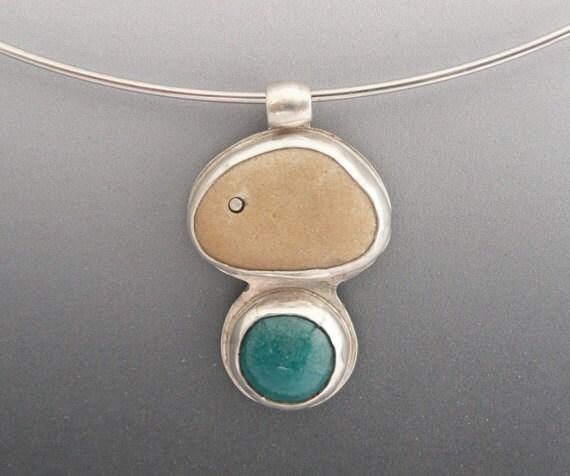 Silver Choker Necklace, Beach Stone Pendant, Enamel Pendant,  Silver Necklace, OOAK