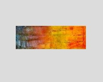 "Mixed Medium Wall Art, Abstract Acrylic Painting on Canvas by Sarah Ettinger, Size 12"" x 36"""
