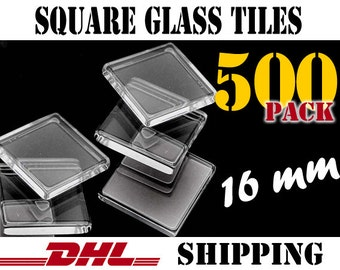 500 pcs Square 16mm Clear Glass Tiles