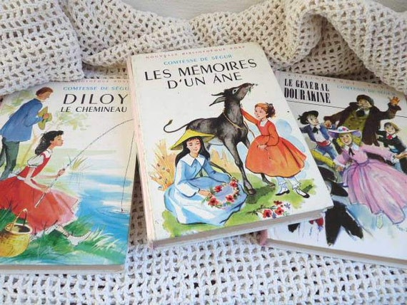 "Vintage set of 3 FRENCH BOOKS, from the famous French editor  Hachette, ""Comtesse de Ségur ""."