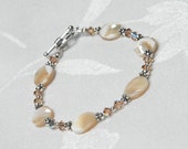FREE US SHIPPING Mother of Pearl Swarovski Crystal Sterling Silver Bracelet
