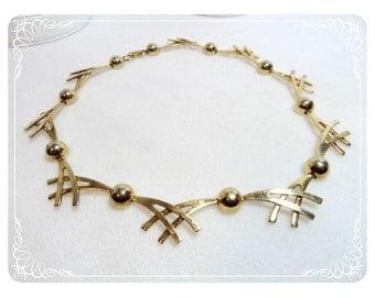 Vintage Atomic Criss Cross & Sphere Necklace   1562a-052112000