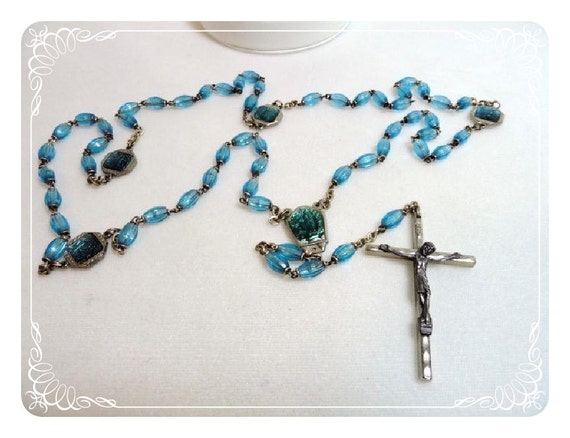 Vintage Italian Rosary w Turquoise Blue Beads -  1546a-052112000
