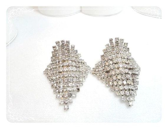 Vintage Rhinestone Shoe Clips - Silver Tone    1533d-052412000