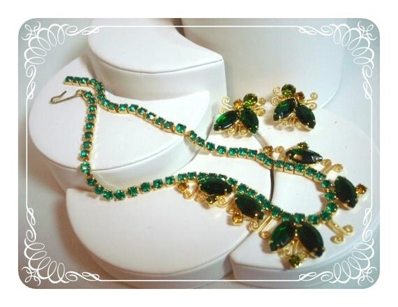 Scrolls & Green Rhinestone Necklace and Earrings Retro Set 1394ag-22211000