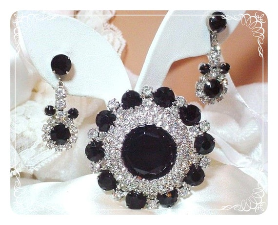 Juliana Brooch and Earrings Demi  Captivating Black Ice  D&E  142a-040410055