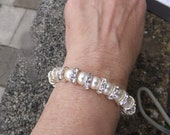 Swarovski cream pearls and crystal bracelet, Bridal jewellery, Cream pearls, magnetic clasp