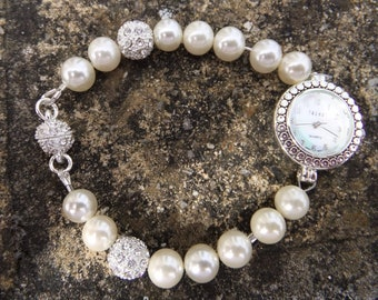 Swarovski pearl Shamballa Watch, Ladies watch, Swarovski Elements, gift for her, mother's day gift, Bridal watch, cream pearl watch.