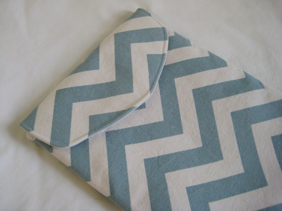 Chevron iPad Sleeve, Chevron iPad Case, with Flap, Grey Blue Chevron print